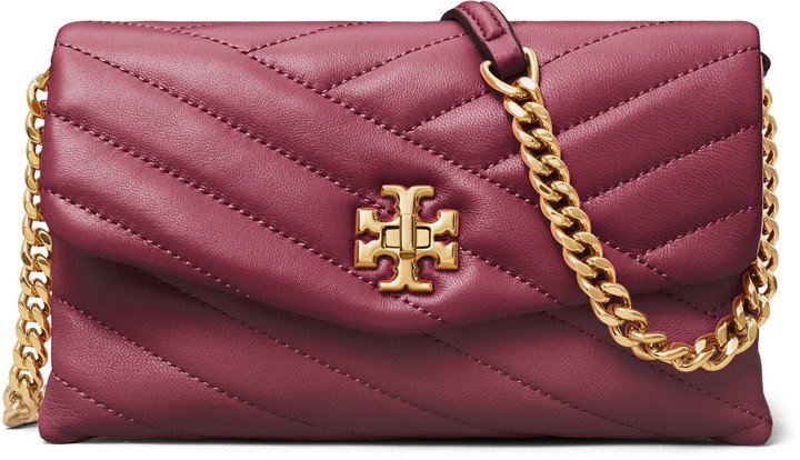 Kira Chevron Quilted Leather Wallet on a Chain
