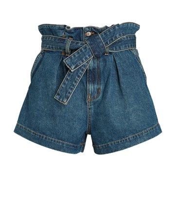Veronica Beard Nori Paperbag Denim Shorts   INTERMIX®