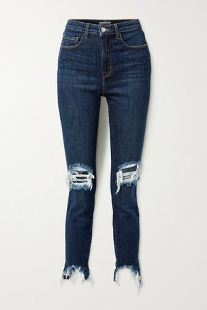High Line Cropped Distressed Skinny Jeans - Blue