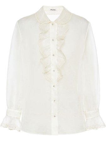 Miu Miu ruffled eyelet lace shirt £790 - Shop Online. Same Day Delivery in London