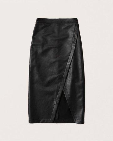 Women's Vegan Leather Wrap Midi Skirt | Women's New Arrivals | Abercrombie.com