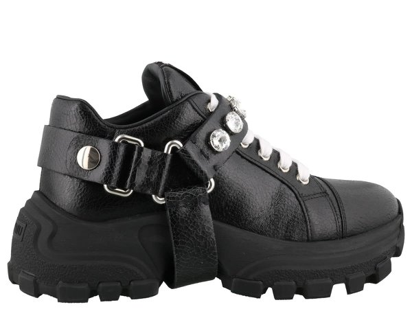 Miu Miu Leather Sneakers With Crystals
