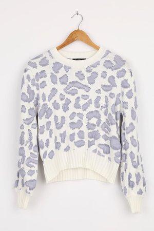 White Leopard Sweater - leopard Sweater - Pullover Sweater - Lulus