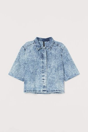 Cropped denim shirt - Blue