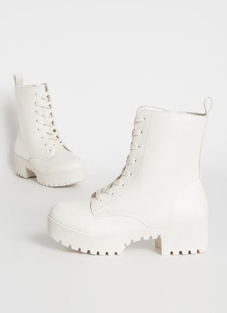 Combat Ready Faux Leather Platform Boots BLACK WHITE - GoJane.com