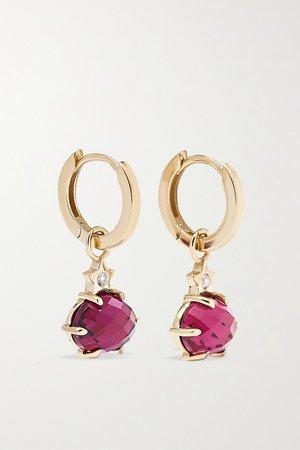 Gold Mini Cosmo 14-karat gold, rhodolite garnet and diamond earrings | Andrea Fohrman | NET-A-PORTER
