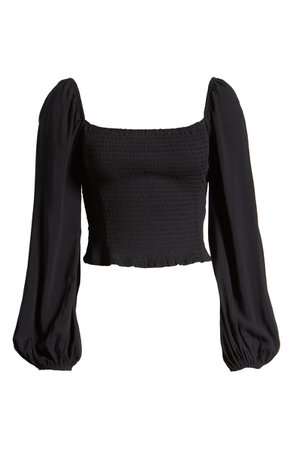 Love, Fire Smocked Square Neck Crop Top Black