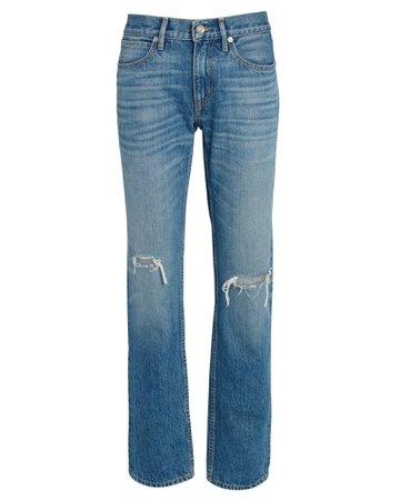 SLVRLAKE Denim Tyler Distressed Straight-Leg Jeans   INTERMIX®