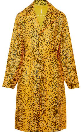 Belted Leopard-print Matte-pu Trench Coat - Yellow