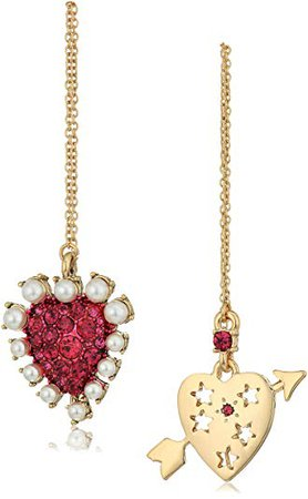 """Betsey Johnson """"Mystic Baroque"""" Queens Fuschia and Gold Heart Mismatched Drop Earrings: Jewelry"""