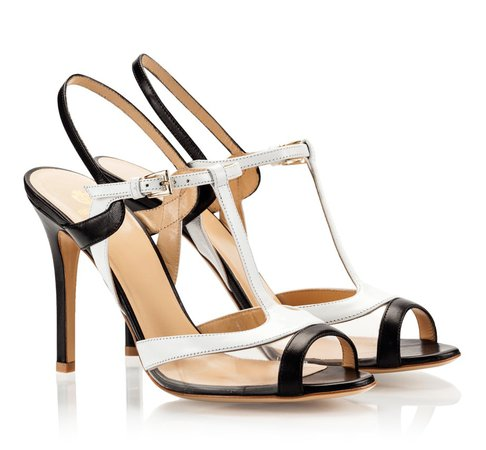 Semilla Black and white leather H-strap slingback high heel sandals | Fratelli Karida Shoes