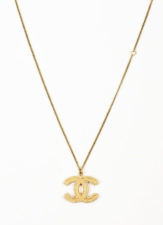 chanel necklace cc gold