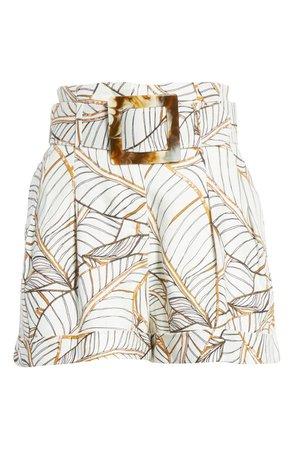 NICHOLAS Palm Leaf Print Linen Shorts | Nordstrom