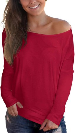 Women's Off Shoulder T Shirt Long Sleeve Blouse Top Black S at Amazon Women's Clothing store