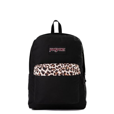 JanSport Superbreak Plus Backpack - Black / Leopard | Journeys