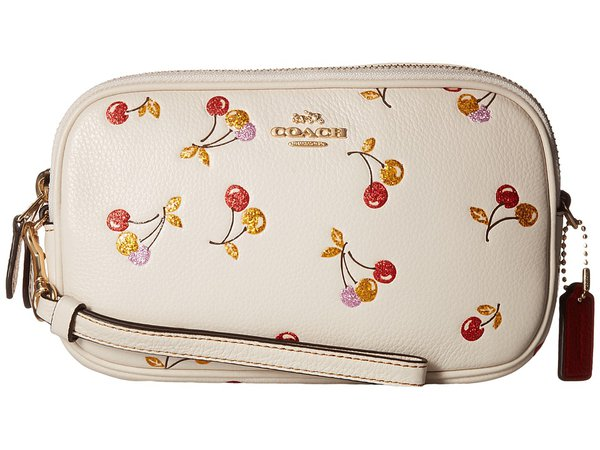 COACH - Cherry Print Crossbody Clutch (LI/Chalk) Clutch Handbags