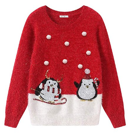 BKN Women's Christmas Sweater Ugly Christmas Sweater with White Bobble Sequin Penguins: Clothing