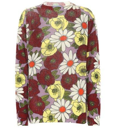 Floral-printed wool sweater