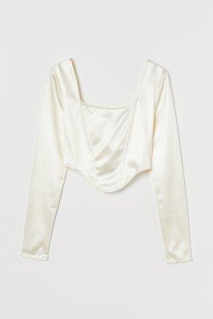 Long-sleeved Short Top - White