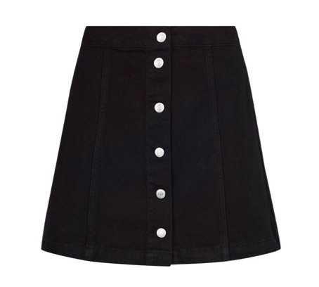 Black Denim A Line Skirt