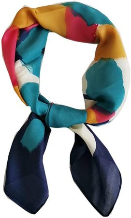 FONYVE Silk Feeling Scarf Medium Square Satin Head Scarf for Women 27.5 × 27.5 inches at Amazon Women's Clothing store