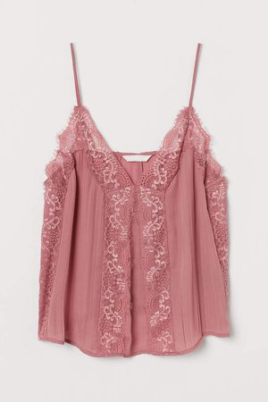 Camisole Top with Lace - Pink
