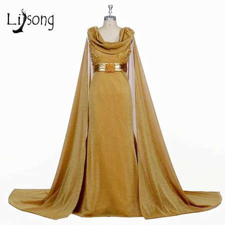 Modern Gold Floor Length Cape Evening Dresses Beades Women Evening ...