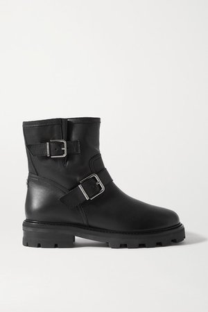 Youth Ii Buckled Shearling-lined Leather Ankle Boots - Black