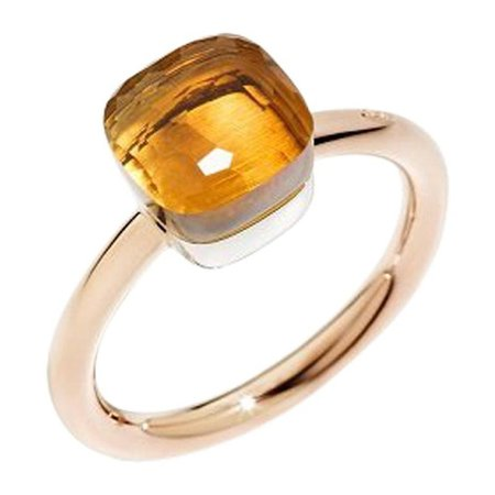 Pomellato Nudo Petit White and Rose Gold Citrine Ring