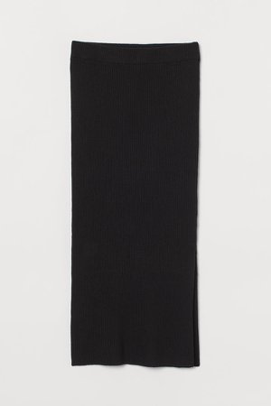 Rib-knit Skirt - Black