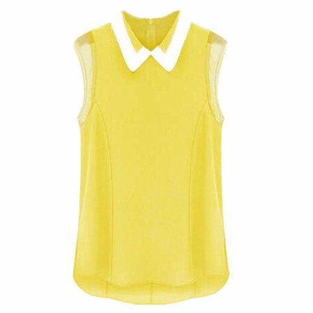 peter pan slevless yellow white blouse