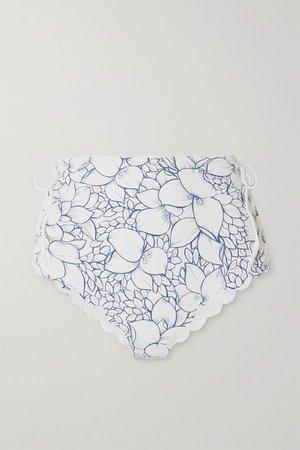 Blue Palm Springs scalloped lace-up floral-print stretch-crepe bikini briefs | Marysia | NET-A-PORTER
