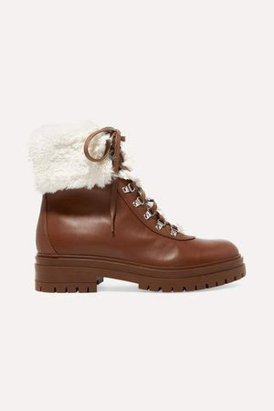 Faux Shearling-trimmed Leather Ankle Boots - Brown