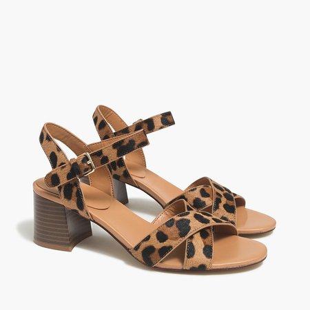 Leopard calf hair low block-heel sandals