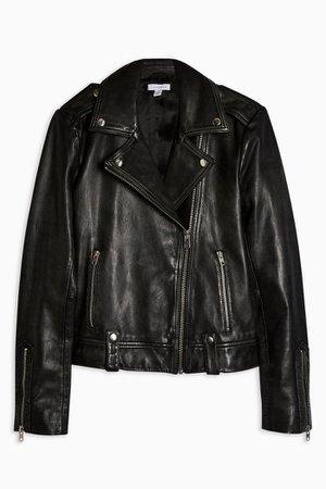 Real Leather Biker Jacket | Topshop