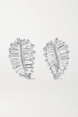 White gold Palm Leaf small 18-karat white gold diamond earrings | Anita Ko | NET-A-PORTER