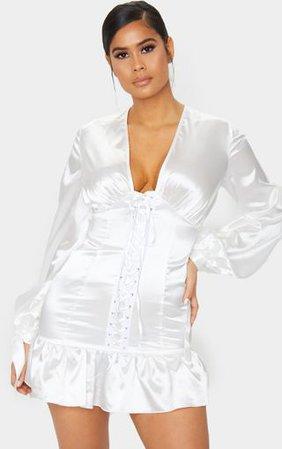 White Satin Lace Up Frill Hem Long Sleeve Dress | PrettyLittleThing