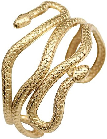 Amazon.com: RechicGu Gold Chic Egypt Cleopatra Swirl Snake Arm Cuff Armlet Armband Open Bangle Bracelet: Clothing