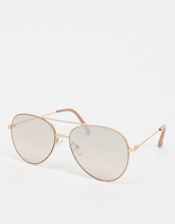 Jeepers Peepers aviator sunglasses in gold | ASOS