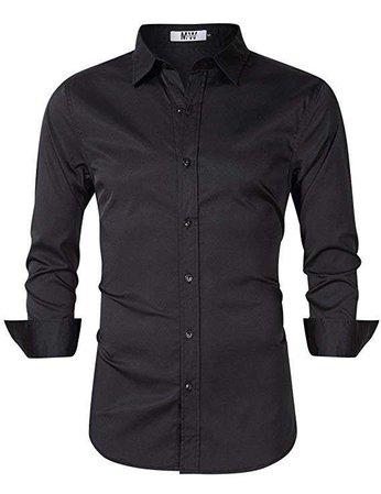 MrWonder Men's Bamboo Fiber Dress Shirt Elastic Casual Slim Fit Solid Long Sleeve Button Down Shirts at Amazon Men's Clothing store: