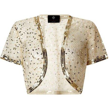 Ariella Vera Sequin and Bead Bolero, Gold found on Polyvore featuring polyvore, fashion, clothing, outerwear, jackets, bolero, plus size…   michael ann   Gold …