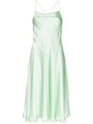 green open back silk dress