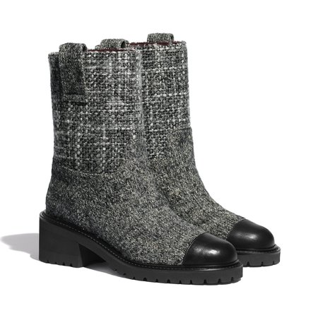 Tweed & Calfskin Gray & Black Ankle Boots   CHANEL