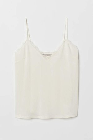 Jersey Camisole Top with Lace - White