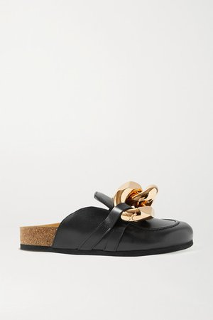 Chain-embellished Leather Slippers - Black
