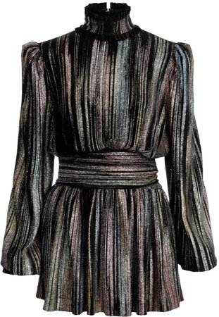Balmain Pleated Lamé Dress