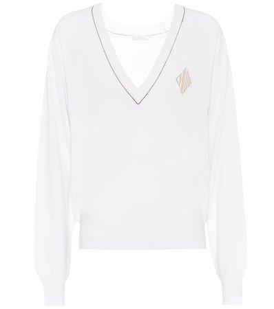 V-neck wool blend sweater