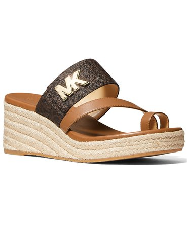 Brown Michael Kors Sidney Mid Wedge Sandals & Reviews - Sandals - Shoes - Macy's