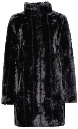 Black Pelted Faux Fur Coat