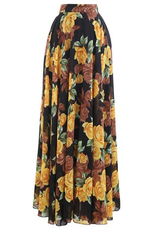 Timeless Favorite Chiffon Maxi Skirt in Yellow Rose - Retro, Indie and Unique Fashion
